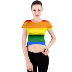 Pride rainbow flag Crew Neck Crop Top