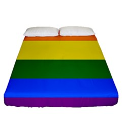 Pride rainbow flag Fitted Sheet (Queen Size)
