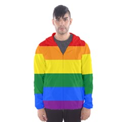 Pride rainbow flag Hooded Wind Breaker (Men)
