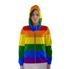 Pride rainbow flag Hooded Wind Breaker (Women)