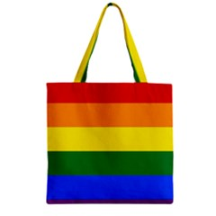 Pride rainbow flag Zipper Grocery Tote Bag