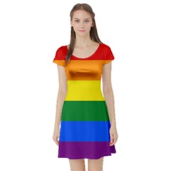 Pride rainbow flag Short Sleeve Skater Dress