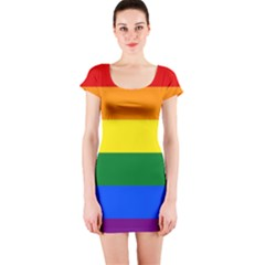 Pride rainbow flag Short Sleeve Bodycon Dress