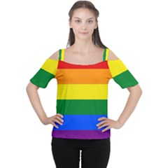 Pride rainbow flag Women s Cutout Shoulder Tee