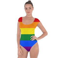 Pride rainbow flag Short Sleeve Leotard
