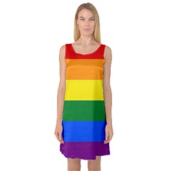 Pride rainbow flag Sleeveless Satin Nightdress