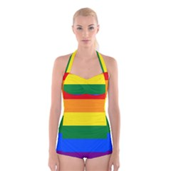 Pride rainbow flag Boyleg Halter Swimsuit