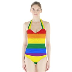 Pride rainbow flag Halter Swimsuit