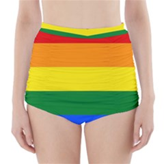 Pride rainbow flag High-Waisted Bikini Bottoms