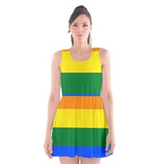 Pride rainbow flag Scoop Neck Skater Dress