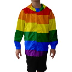 Pride rainbow flag Hooded Wind Breaker (Kids)