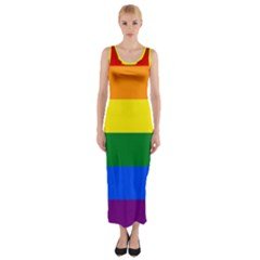 Pride rainbow flag Fitted Maxi Dress