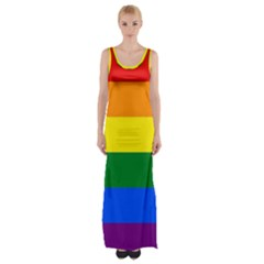 Pride rainbow flag Maxi Thigh Split Dress