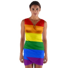 Pride rainbow flag Wrap Front Bodycon Dress