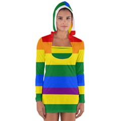 Pride rainbow flag Women s Long Sleeve Hooded T-shirt