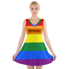Pride rainbow flag V-Neck Sleeveless Skater Dress