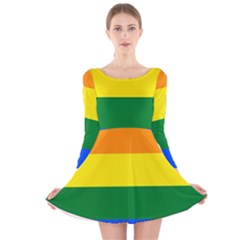 Pride rainbow flag Long Sleeve Velvet Skater Dress