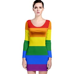 Pride rainbow flag Long Sleeve Velvet Bodycon Dress