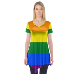 Pride rainbow flag Short Sleeve Tunic
