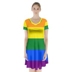 Pride rainbow flag Short Sleeve V-neck Flare Dress