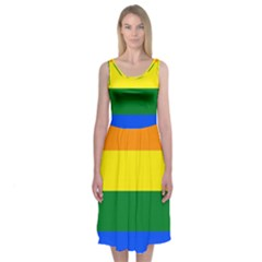 Pride rainbow flag Midi Sleeveless Dress