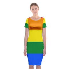 Pride rainbow flag Classic Short Sleeve Midi Dress