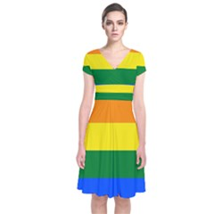 Pride rainbow flag Short Sleeve Front Wrap Dress