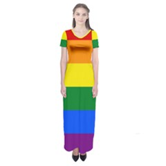Pride rainbow flag Short Sleeve Maxi Dress