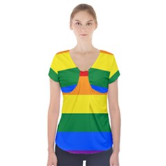 Pride rainbow flag Short Sleeve Front Detail Top