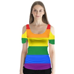 Pride rainbow flag Butterfly Sleeve Cutout Tee