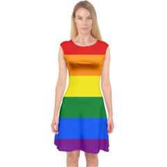 Pride rainbow flag Capsleeve Midi Dress