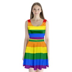 Pride rainbow flag Split Back Mini Dress