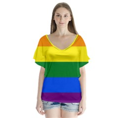 Pride rainbow flag Flutter Sleeve Top