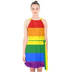 Pride rainbow flag Halter Collar Waist Tie Chiffon Dress