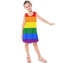 Pride rainbow flag Kids  Sleeveless Dress