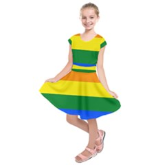 Pride rainbow flag Kids  Short Sleeve Dress