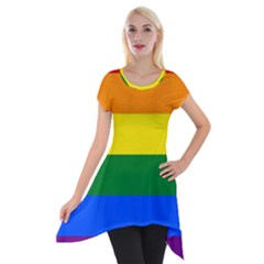 Pride rainbow flag Short Sleeve Side Drop Tunic