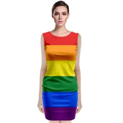 Pride rainbow flag Sleeveless Velvet Midi Dress