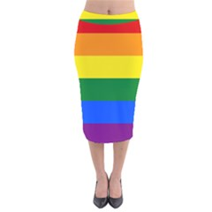 Pride rainbow flag Velvet Midi Pencil Skirt