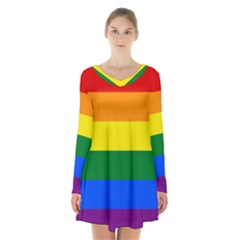 Pride rainbow flag Long Sleeve Velvet V-neck Dress