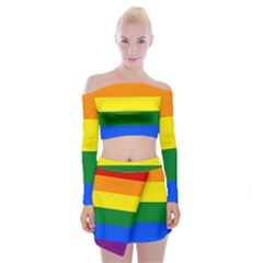 Pride rainbow flag Off Shoulder Top with Skirt Set