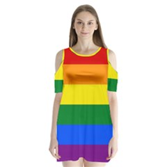 Pride rainbow flag Shoulder Cutout Velvet  One Piece