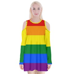 Pride rainbow flag Velvet Long Sleeve Shoulder Cutout Dress