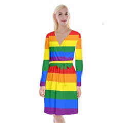 Pride rainbow flag Long Sleeve Velvet Front Wrap Dress