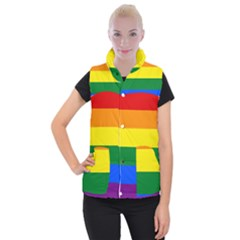 Pride rainbow flag Women s Button Up Puffer Vest
