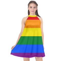 Pride rainbow flag Halter Neckline Chiffon Dress