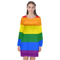 Pride rainbow flag Long Sleeve Chiffon Shift Dress