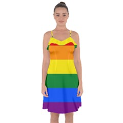 Pride rainbow flag Ruffle Detail Chiffon Dress