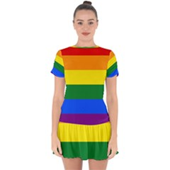 Pride rainbow flag Drop Hem Mini Chiffon Dress