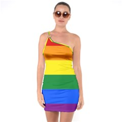 Pride rainbow flag One Soulder Bodycon Dress